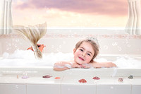 Little Mermaid Girl in bath tub