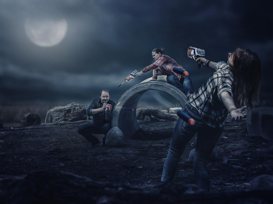 Family having a Nerf Gun fight as a custom art composite