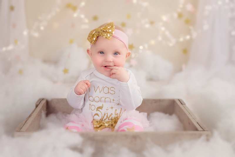 Children's Mini Session of a 6 month old baby girl in studio