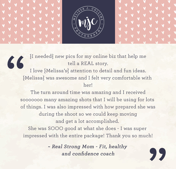 Testimonials for personal brand photography with MJCollins Photography, North Branch, MN Minnesota