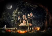 3 witch sisters casting a spell on brother Halloween
